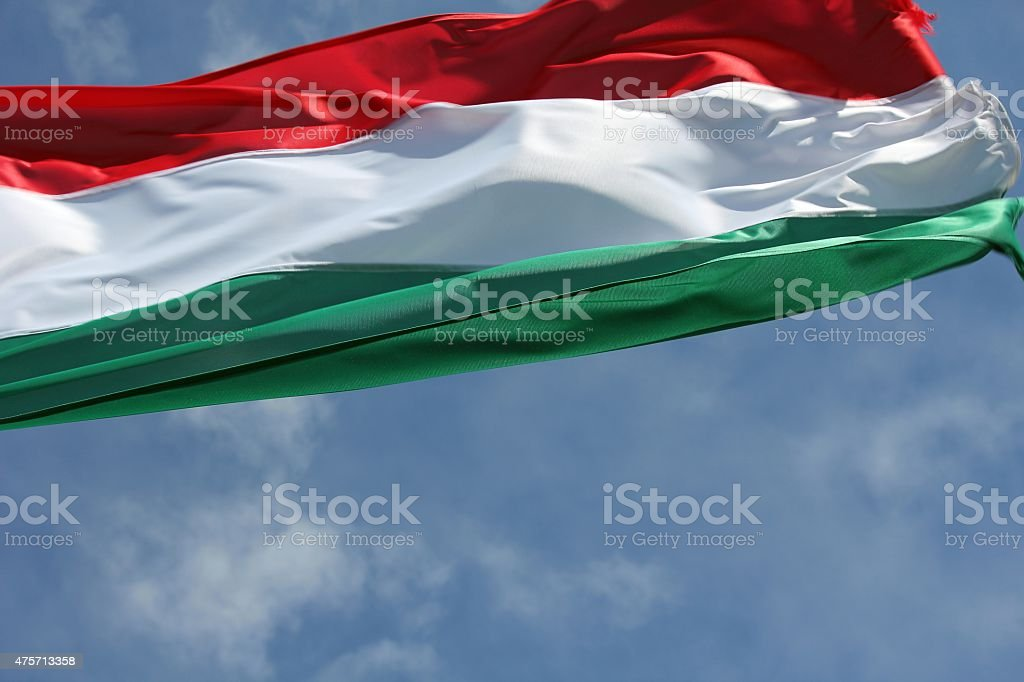 Hungarian national flag in the wind stock photo