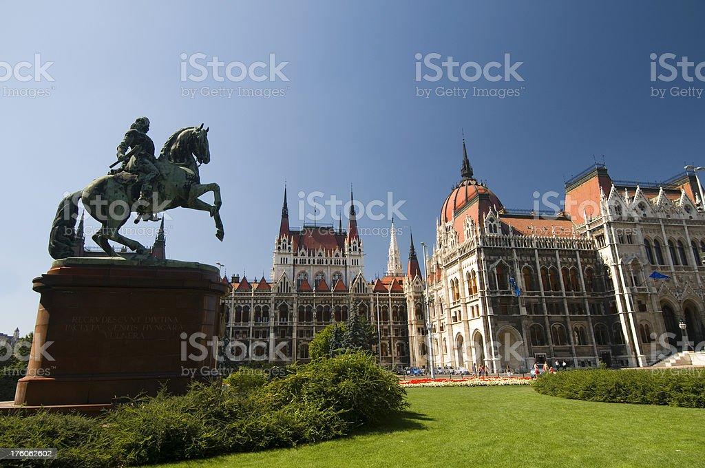 Hungarian parliament and Ferenc II Rakoczi Statue royalty-free stock photo