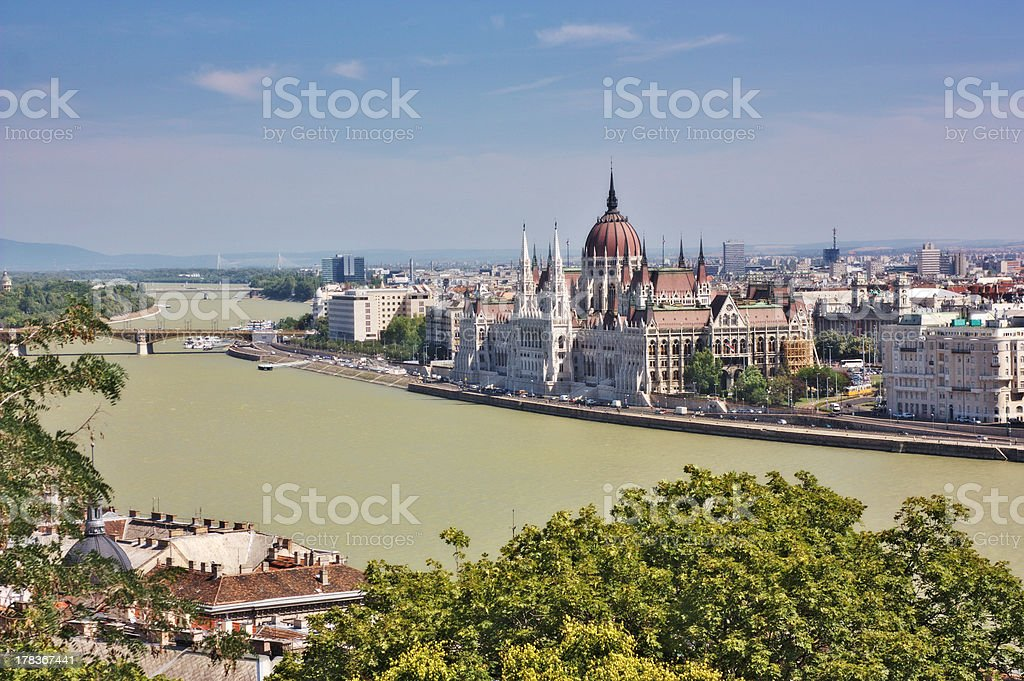 Hungarian Parliament and the chain bridge royalty-free stock photo