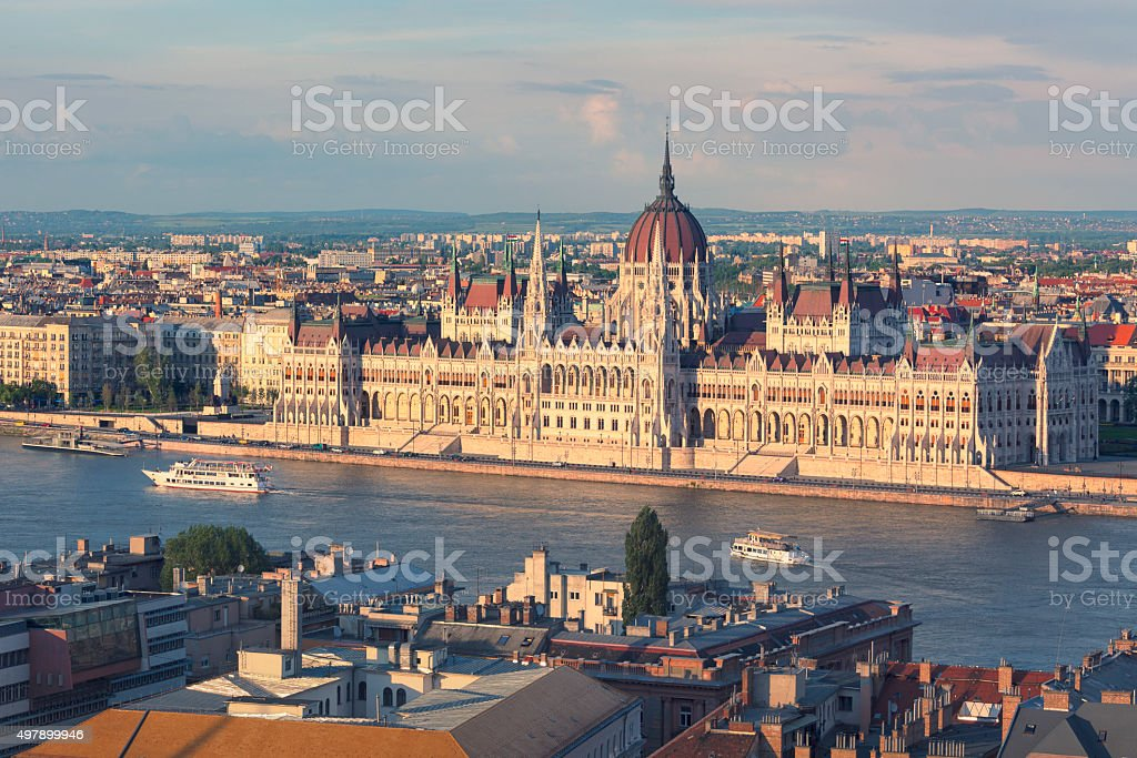 Hungarian parliament and the Danube stock photo