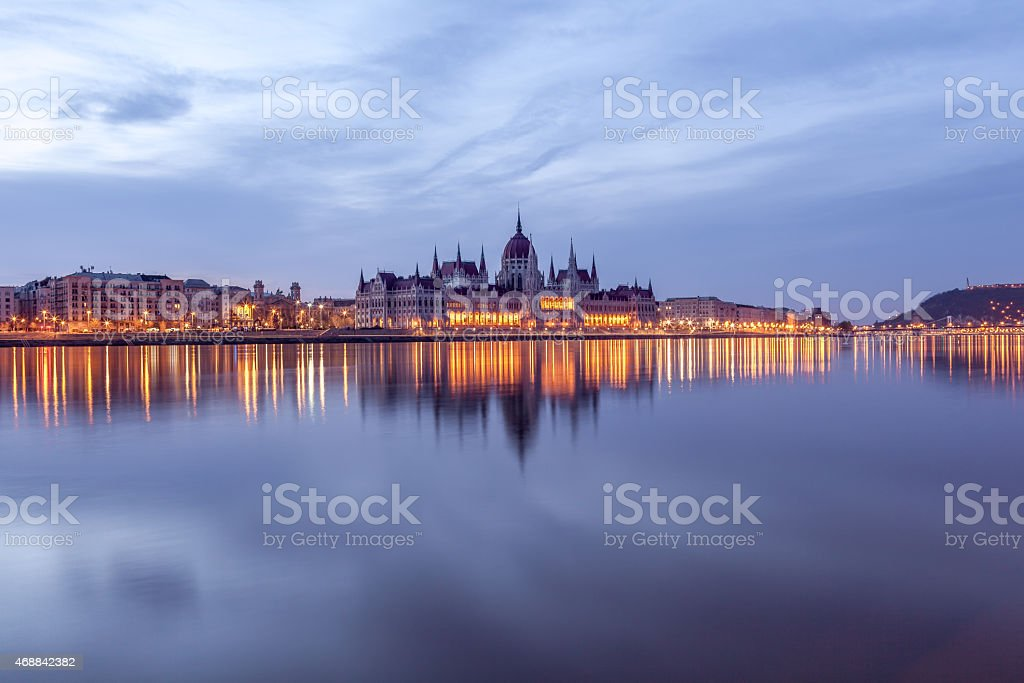 Hungarian Parliament and the Gellert Hill at morning stock photo