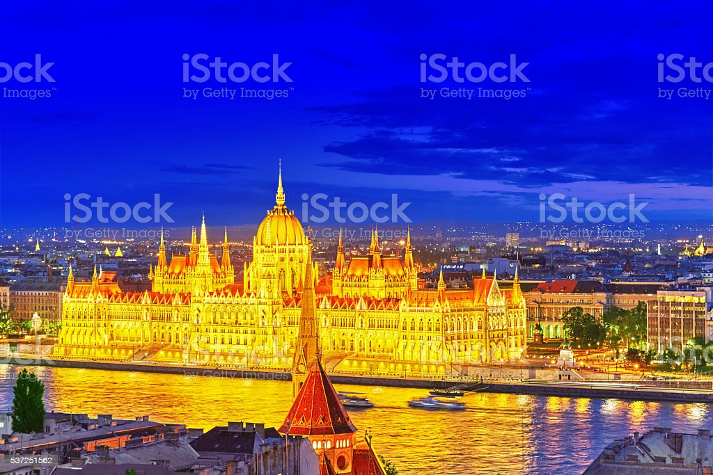 Hungarian Parliament at evening. Budapest. stock photo