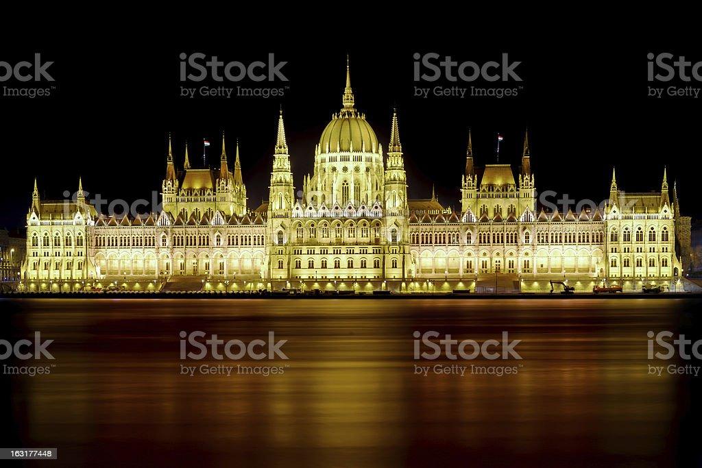 Hungarian Parliament At Night royalty-free stock photo