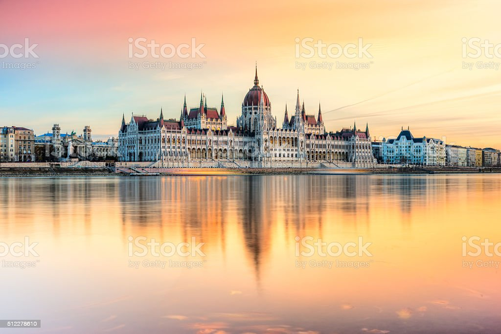 Hungarian Parliament at sunset, Budapest. stock photo