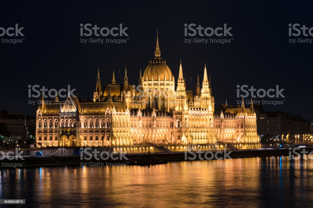 Hungarian Parliament Building at night, Budapest, Hungary stock photo