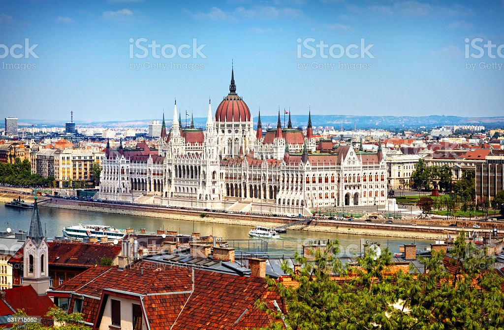 Hungarian Parliament Building - day view from the Castle Hill stock photo