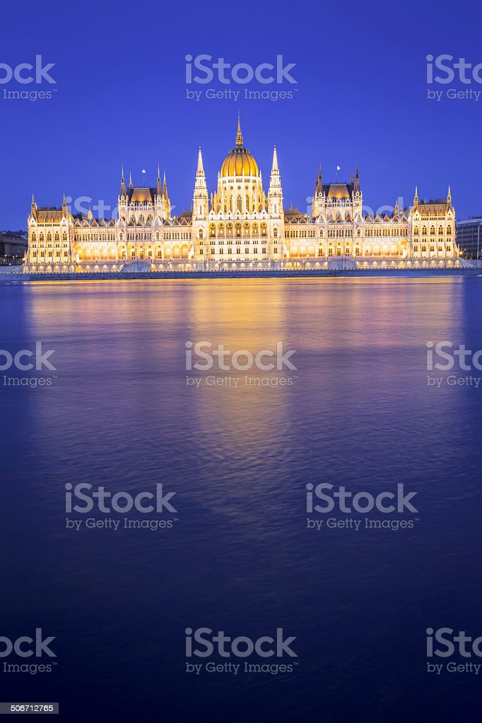 Hungarian Parliament building in Budapest at night royalty-free stock photo