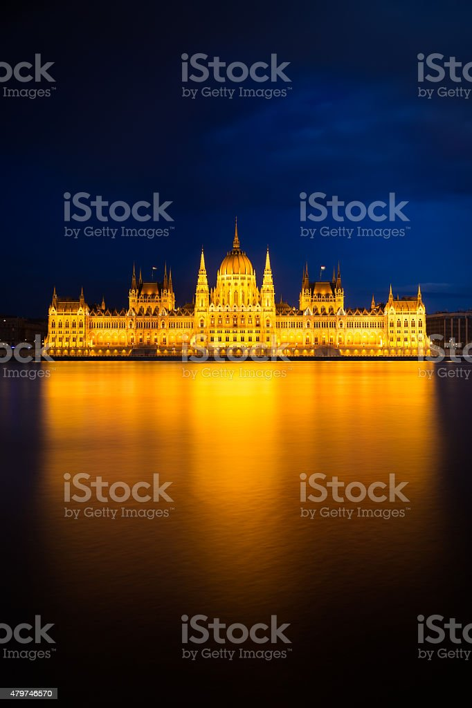 Hungarian Parliament Building in golden light, Budapest stock photo