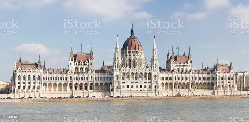 Hungarian Parliament Building panorama stock photo