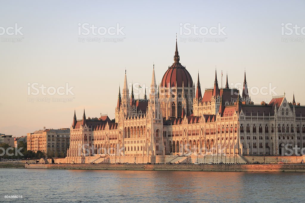 Hungarian Parliament in Budapest at sunset royalty-free stock photo