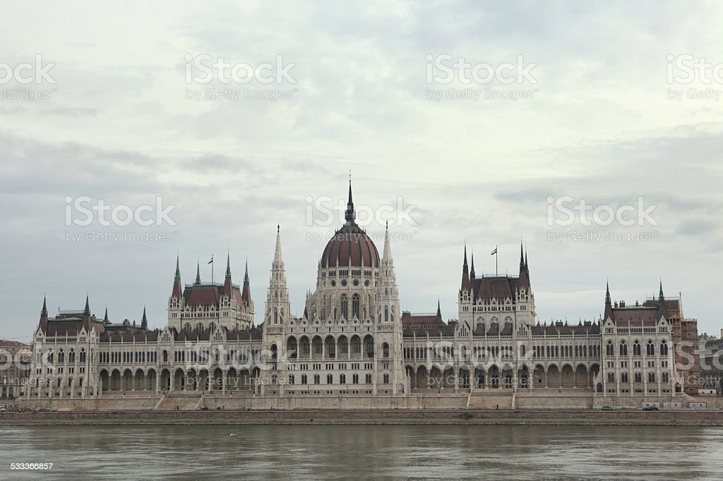 Hungarian Parliament in Budapest, Hungary. stock photo