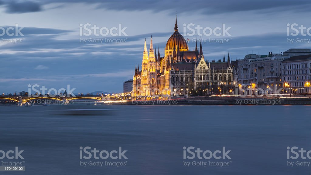 Hungarian parliament in morning light royalty-free stock photo