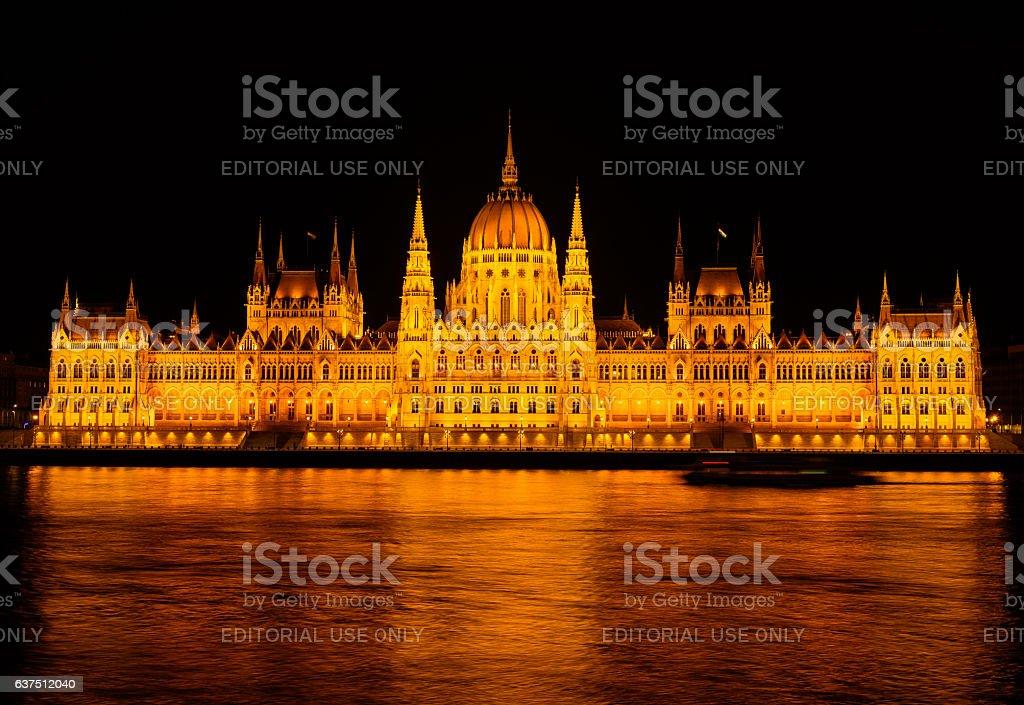 hungarian parliament, night scene stock photo