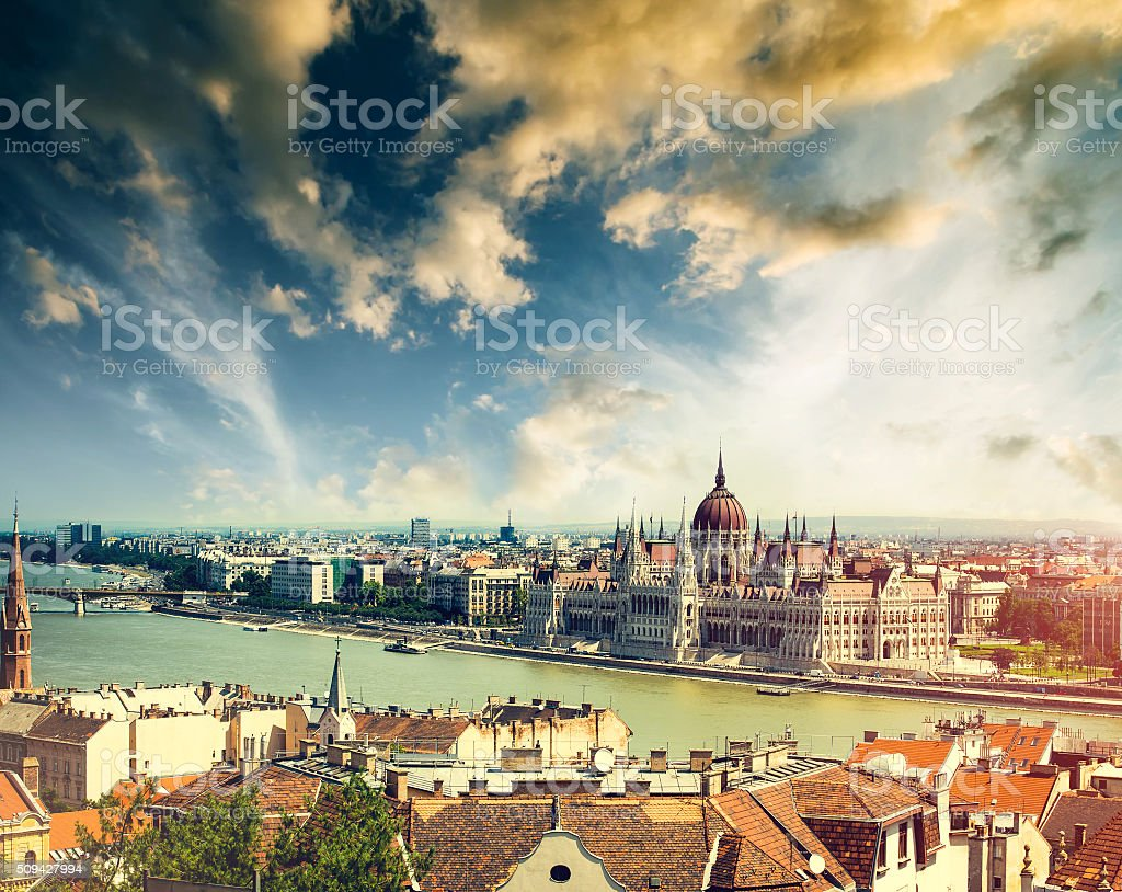 Hungarian Parliament view from fishermen Bastion stock photo
