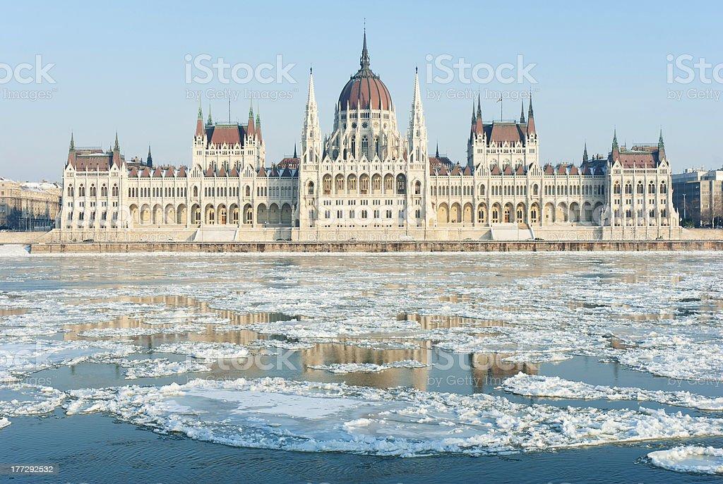 Hungarian parliament, winter stock photo