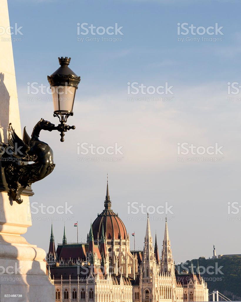 Hungarian Parliament with Dragon's Lamp in the foreground stock photo