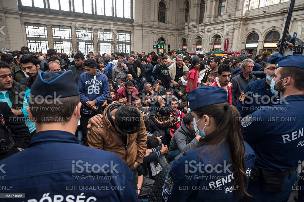 Hungarian police in the Keleti train station of Budapest city stock photo