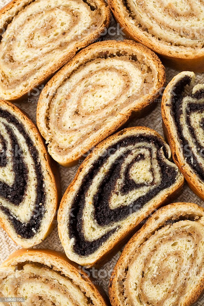 Hungarian poppy seed and walnut rolls royalty-free stock photo