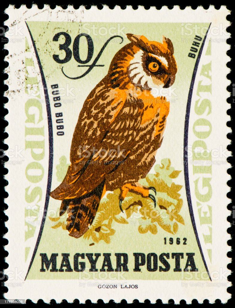 Hungarian postage stamp from 1962 with an eagle owl royalty-free stock photo