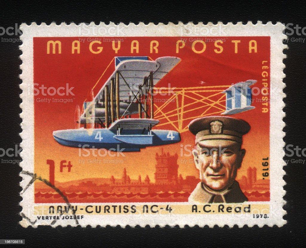 Hungarian Postage stamp, Vintage Plane stock photo
