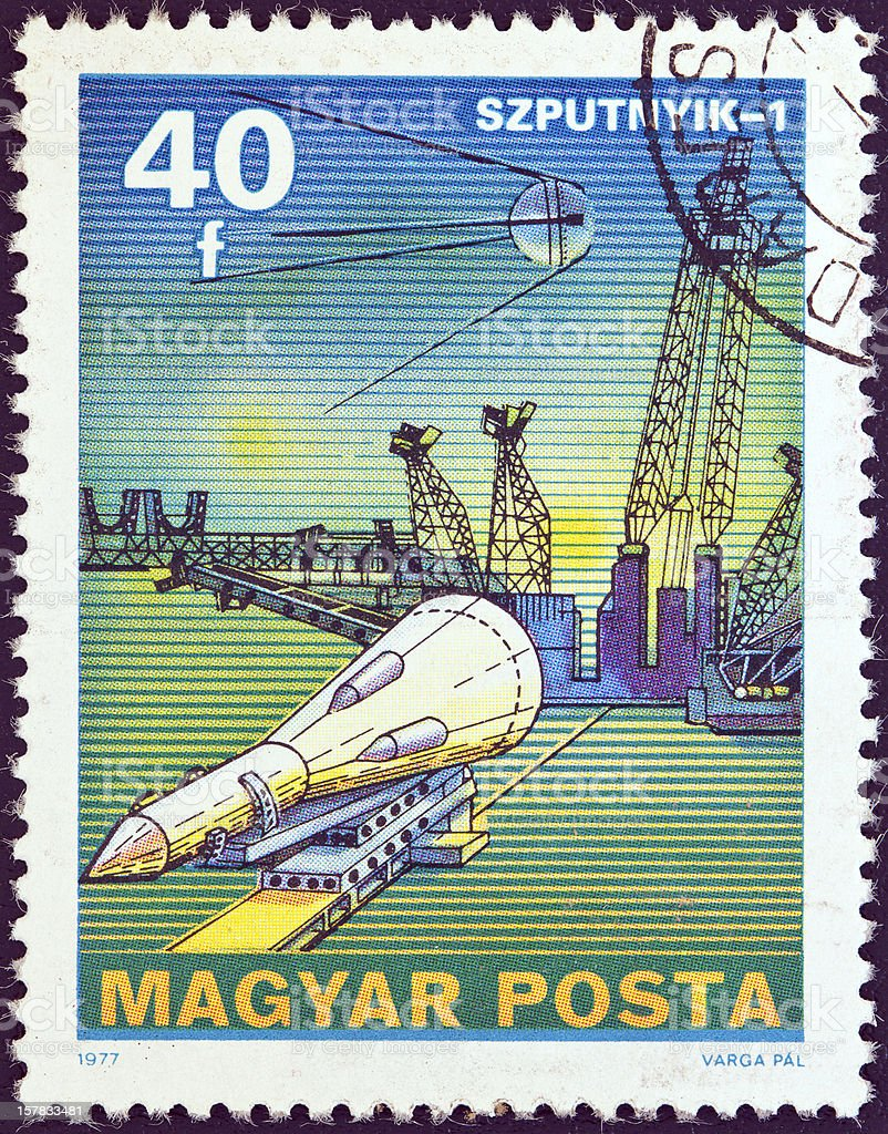 Hungarian stamp shows Sputnik 1 (1977) stock photo