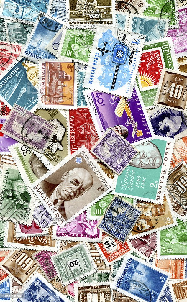 Hungarian Stamps Background XXXL royalty-free stock photo