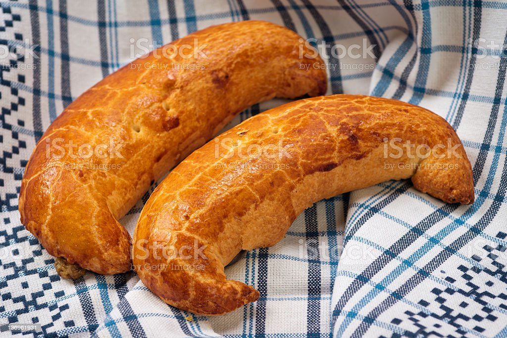 Hungarian xmas walnut crescent shape cake royalty-free stock photo