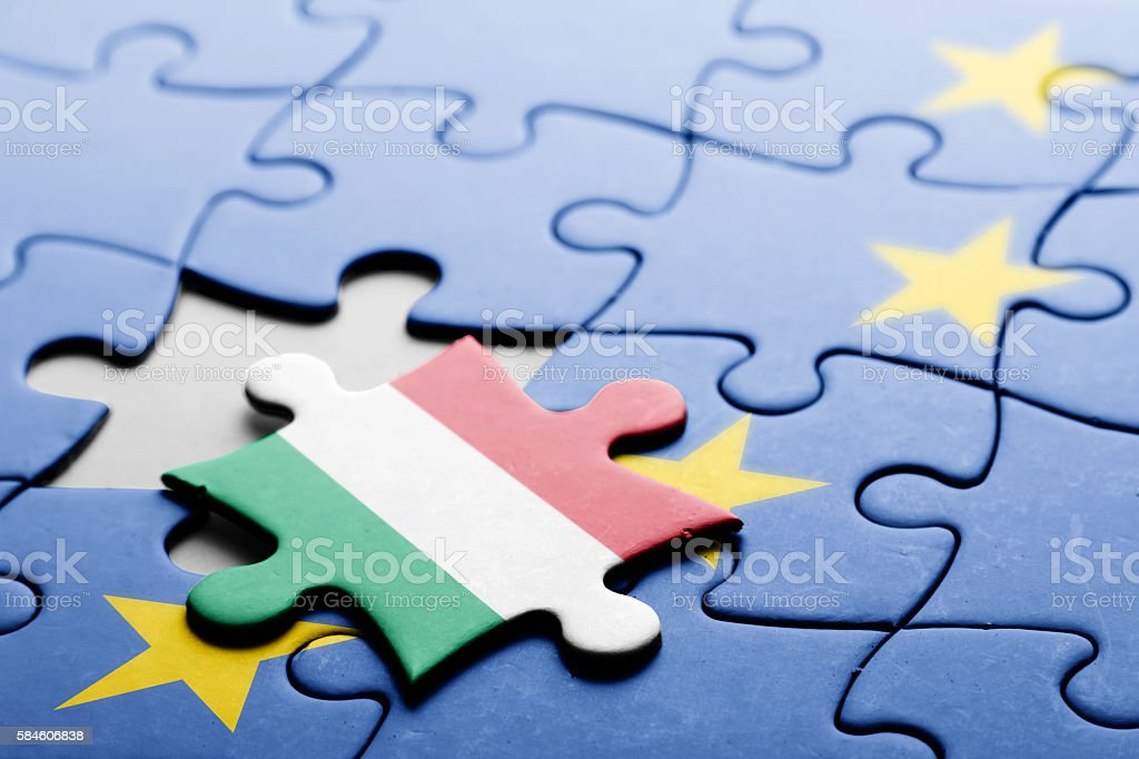 Hungary. Exit from European Union concept puzzle stock photo