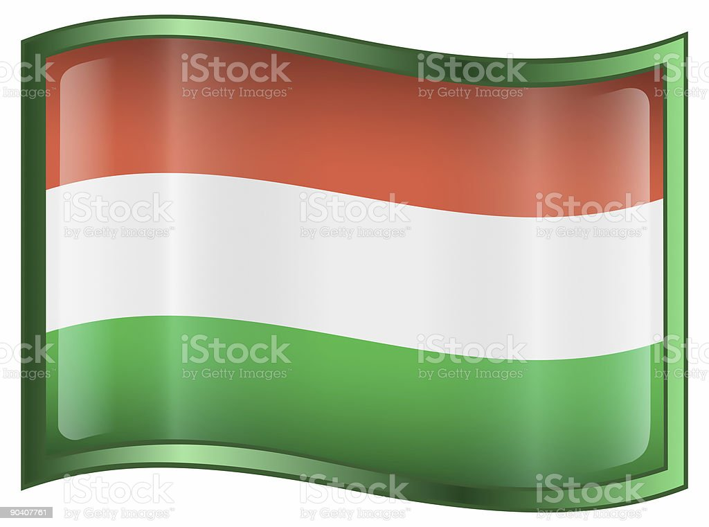 Hungary Flag Icon, isolated on white background royalty-free stock photo