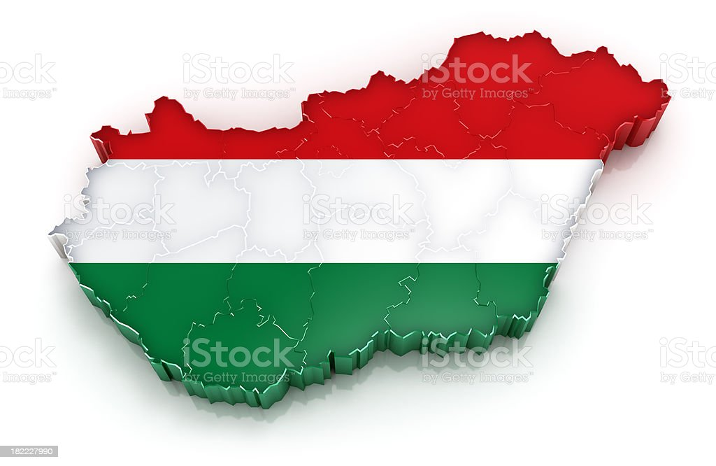 Hungary map with flag stock photo