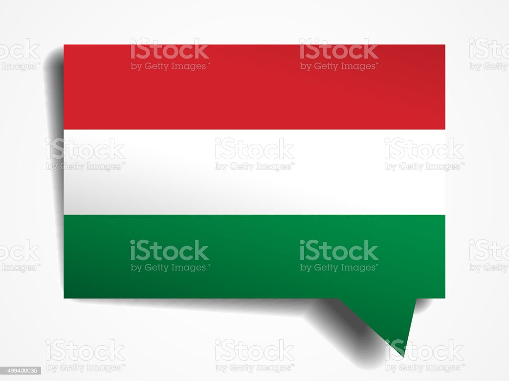 hungary paper 3d realistic speech bubble on white background stock photo