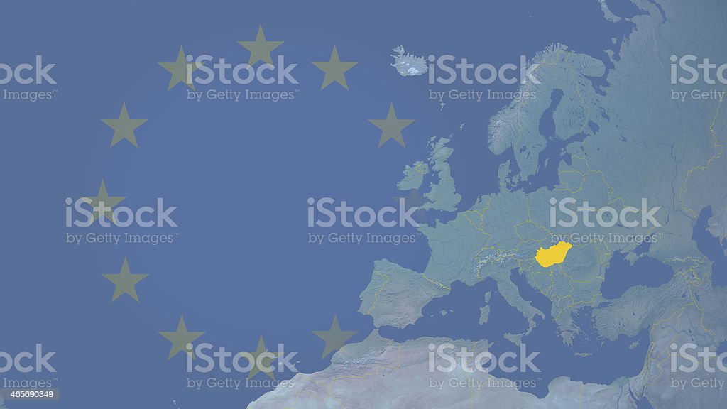 Hungary part of  European union since 2004 16:9 with borders royalty-free stock photo