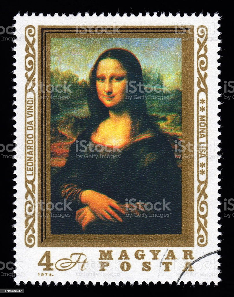 Hungary Postage Stamp Mona Lisa stock photo