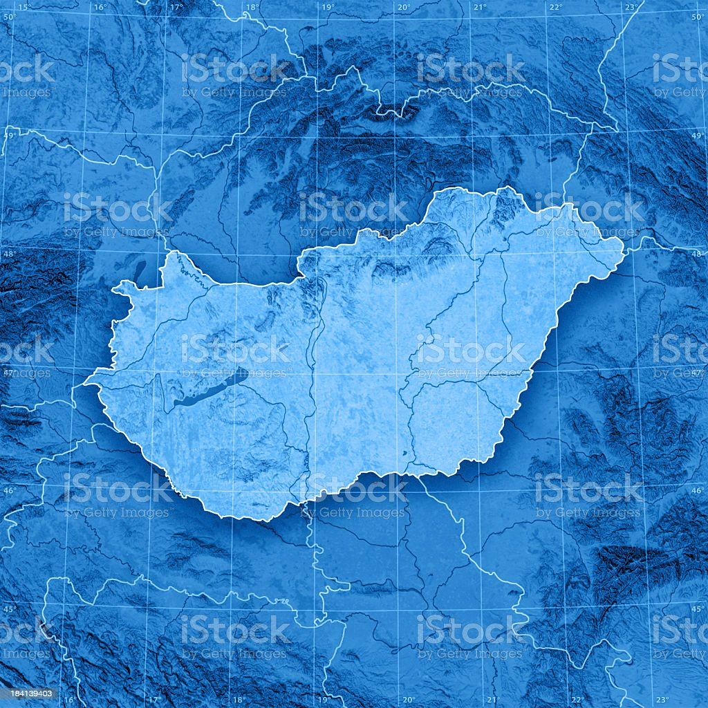 Hungary Topographic Map stock photo