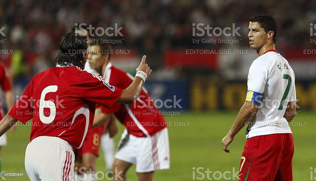 Dispute of Hungarian Peter Halmosi and Portuguese Cristiano Ronaldo...