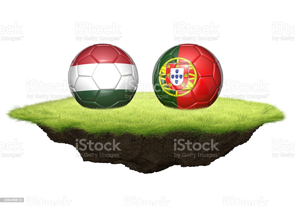 Hungary vs Portugal team balls for football championship tournament stock photo