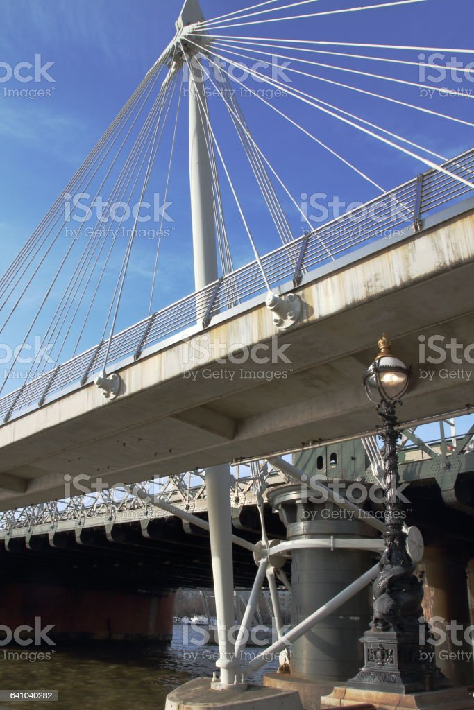 Hungerford Bridge and Golden Jubilee Bridges - London - UK stock photo