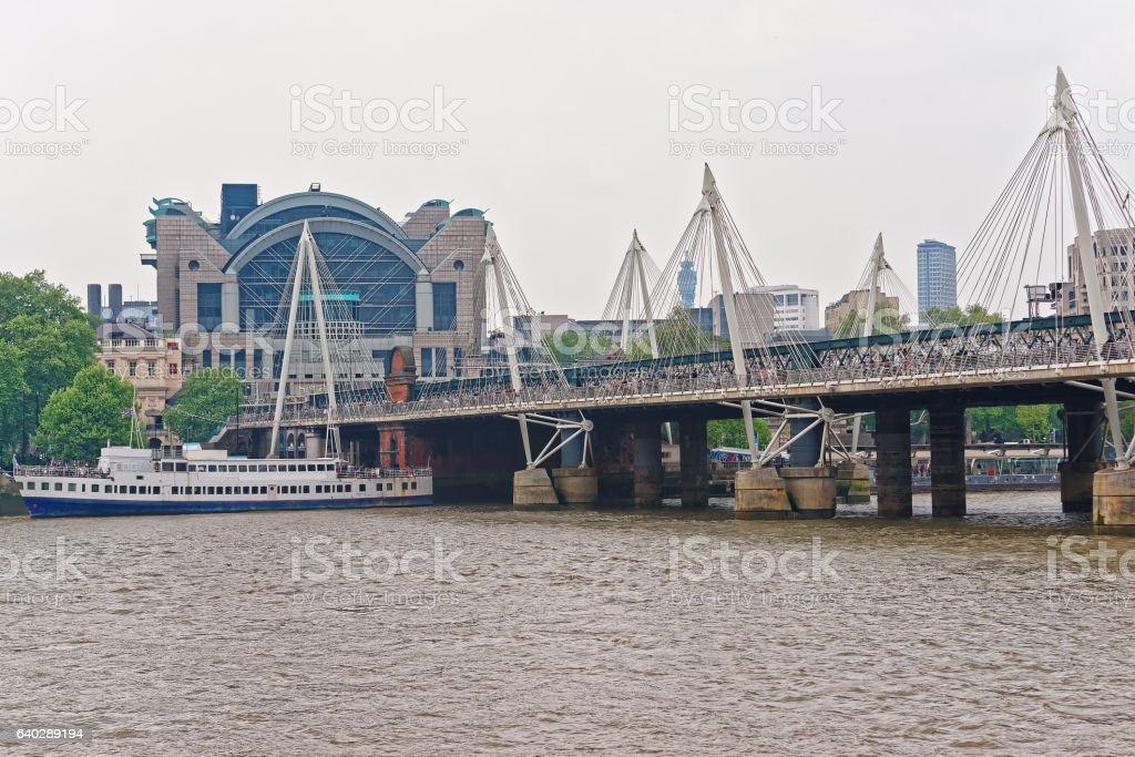 Hungerford Bridge in London in the UK stock photo