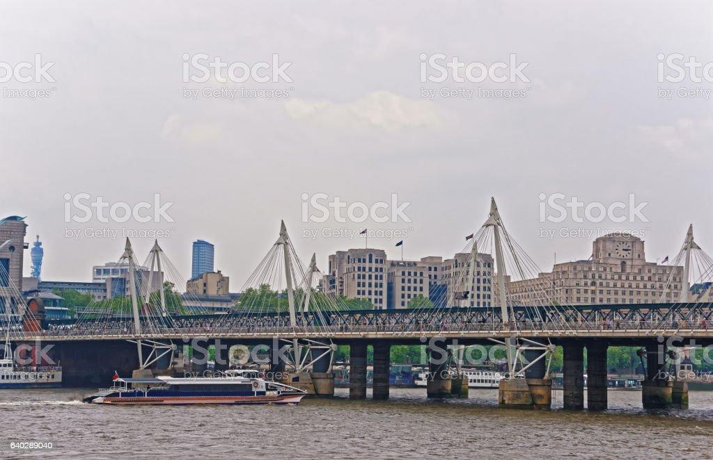 Hungerford Bridge in London in UK stock photo