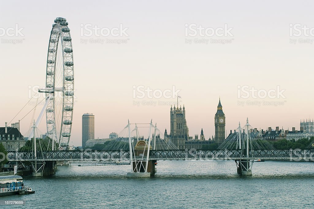 Hungerford Bridge River Thames Dusk Panorama, London stock photo