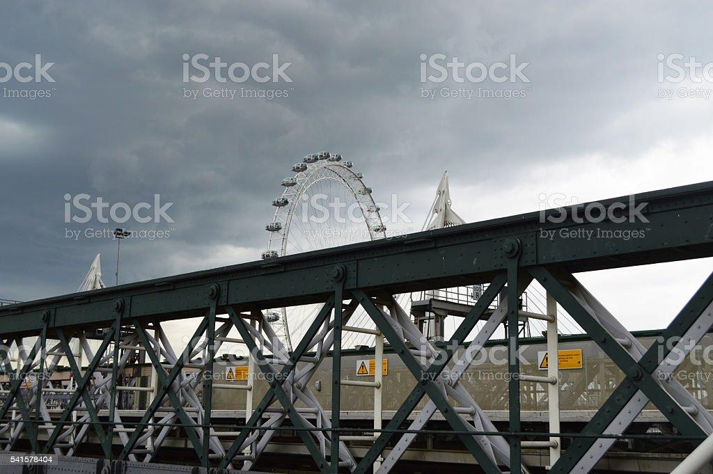 Hungerford Bridge with london eye background stock photo