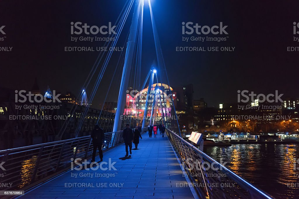 Hungerford foot bridge over the River Thames stock photo