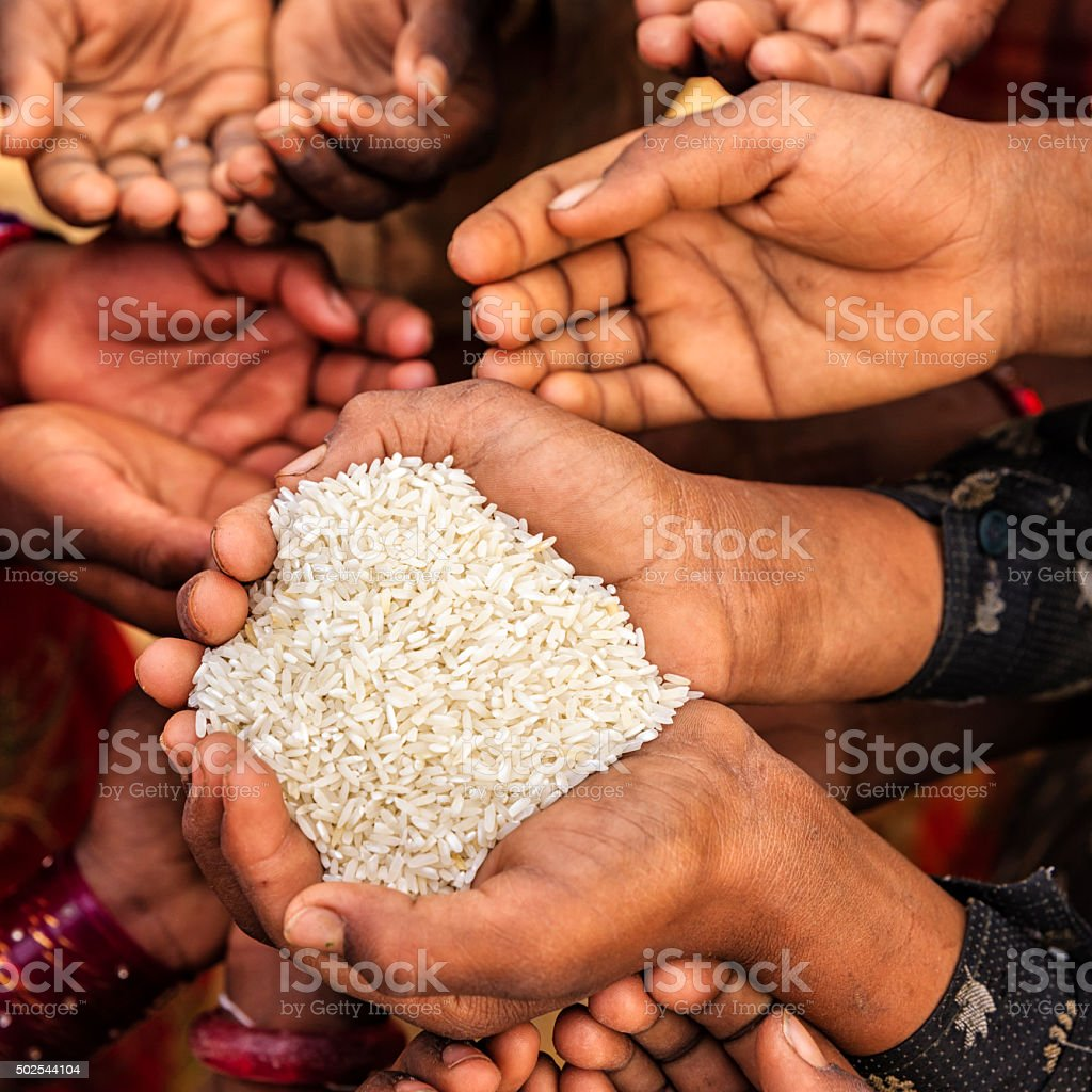 Hungry African children asking for food, Africa stock photo