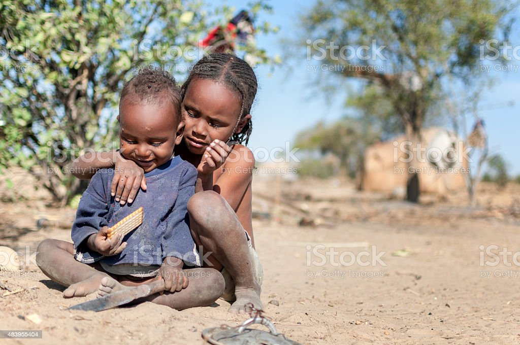 Hungry african children stock photo