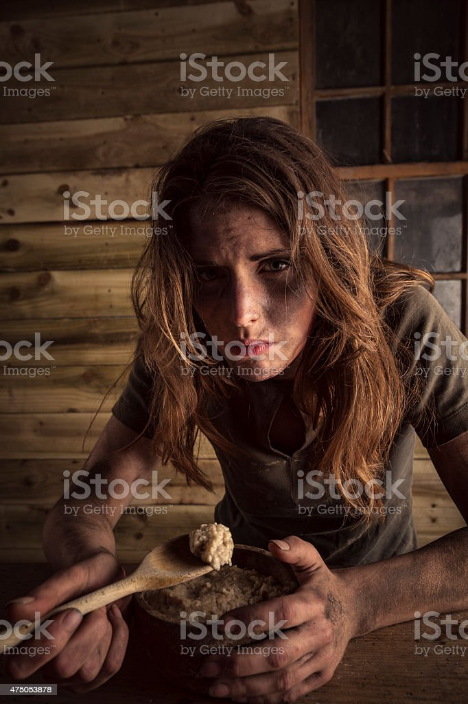 Hungry Beggar Girl stock photo