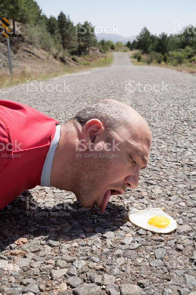 Hungry but Bizarre Man royalty-free stock photo