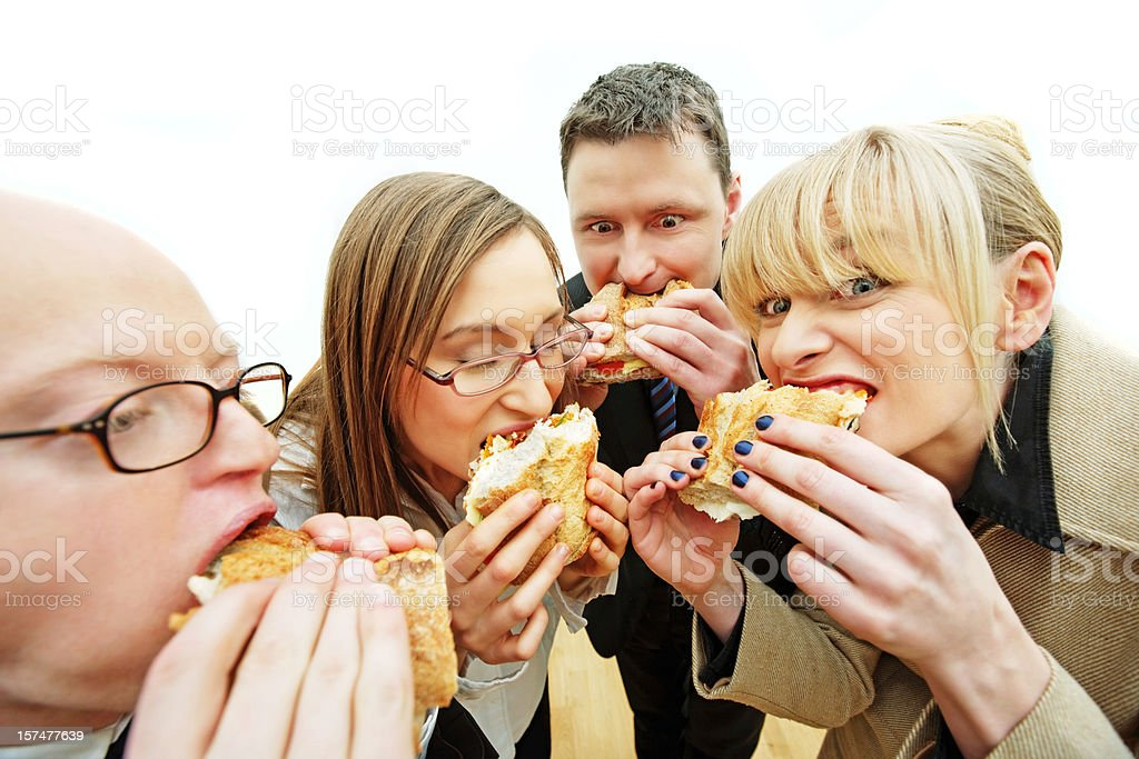 Hungry office workers royalty-free stock photo