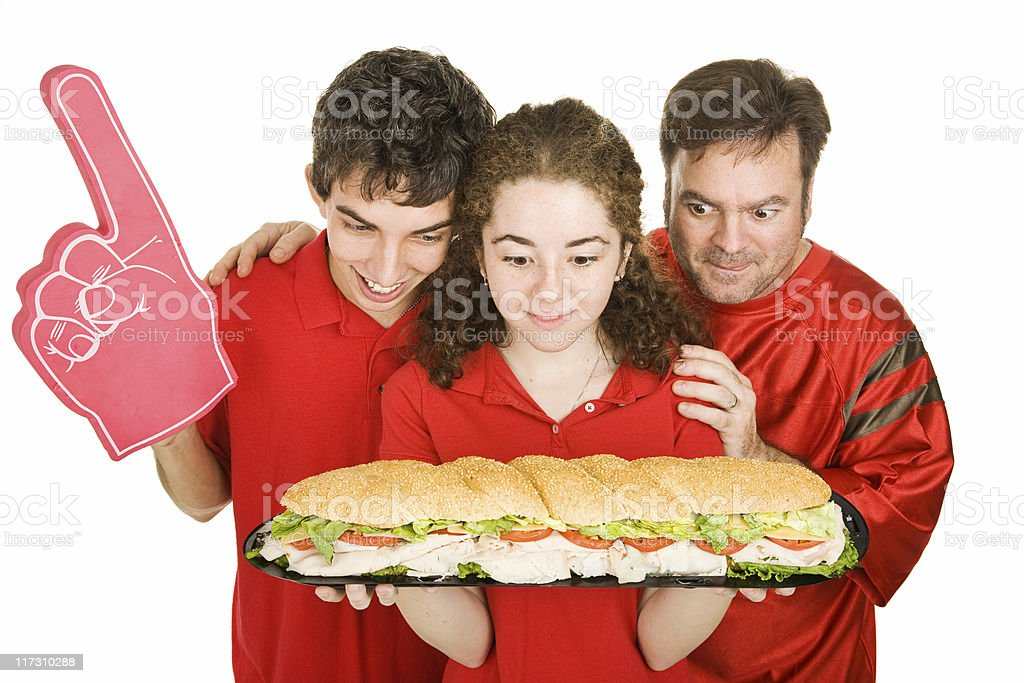 Hungry Partiers with Sandwich royalty-free stock photo