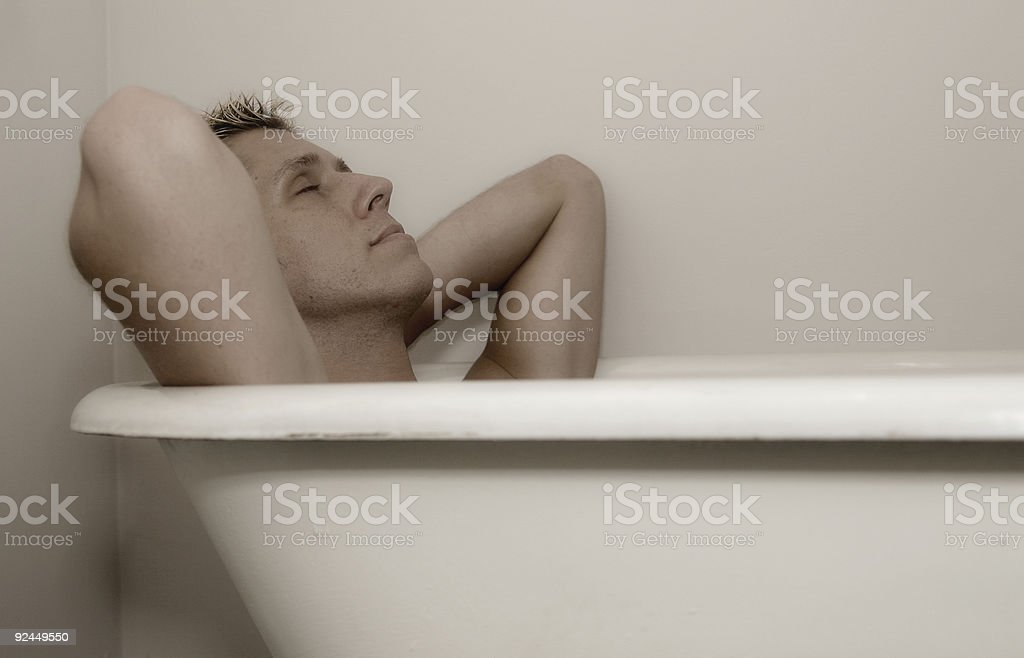 Hunk in the bath. royalty-free stock photo