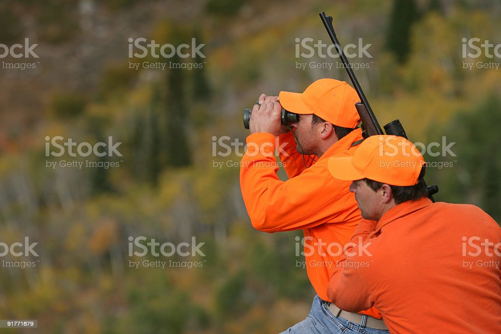 Hunter and Guide royalty-free stock photo